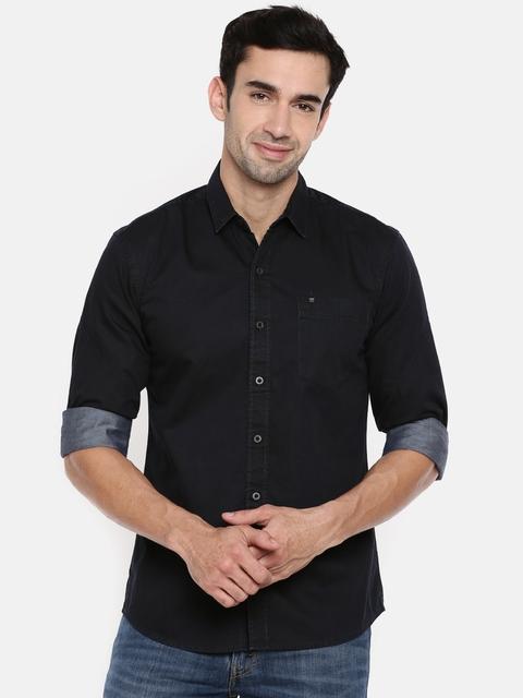 Wrangler Men Black Slim Fit Solid Casual Shirt