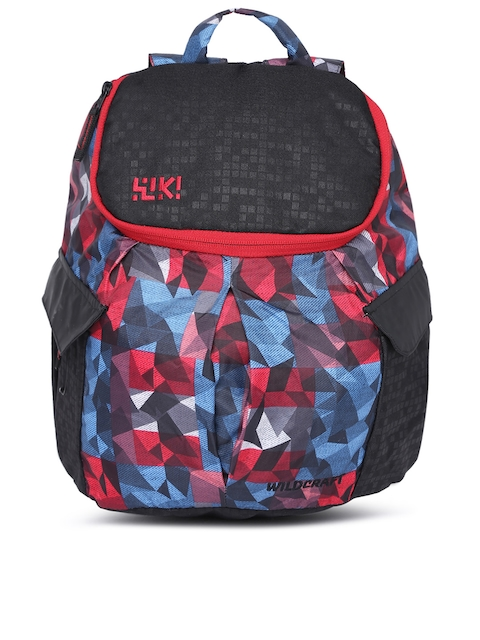 Wildcraft Unisex Black & Red Graphic Backpack