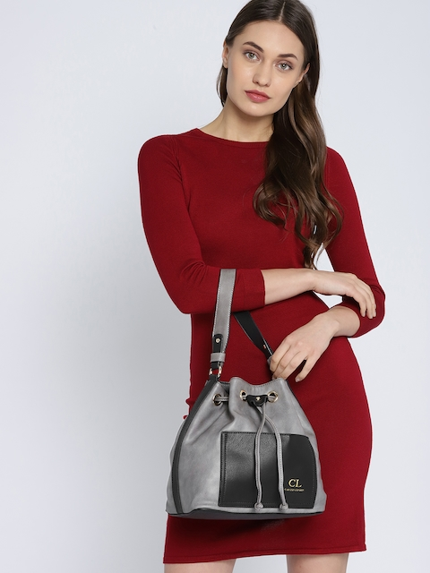 Carlton London Grey & Black Hobo Bag