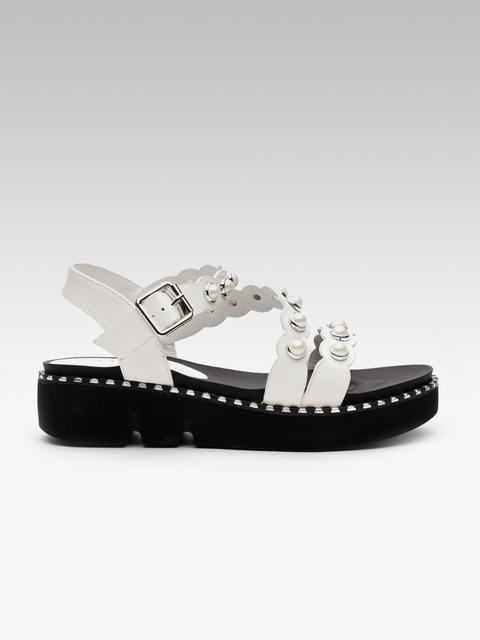 Elle Women White Embellished Flatforms