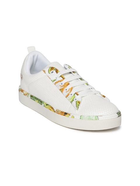 Elle Women White Textured Sneakers