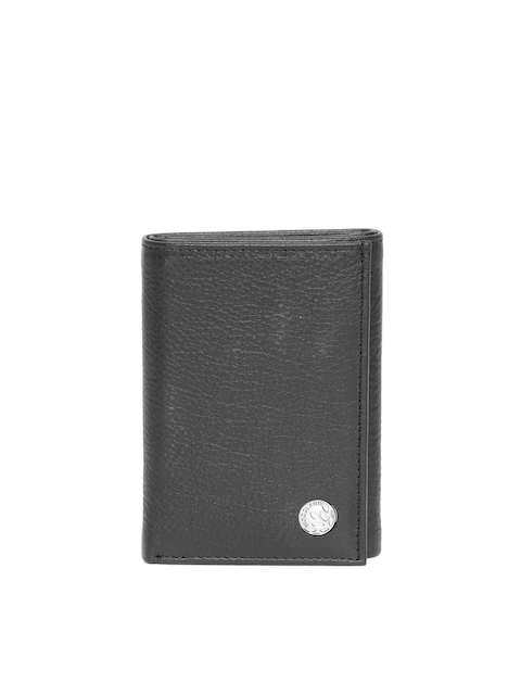 Woodland Men Black Leather Solid Three Fold Wallet