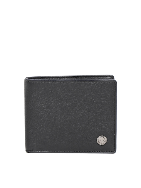 Woodland Men Black Leather Two Fold Wallet
