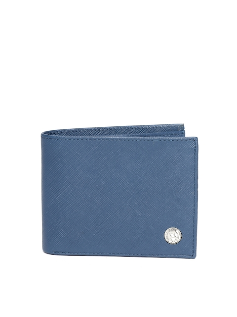 Woodland Men Navy Blue Solid Two Fold Leather Wallet