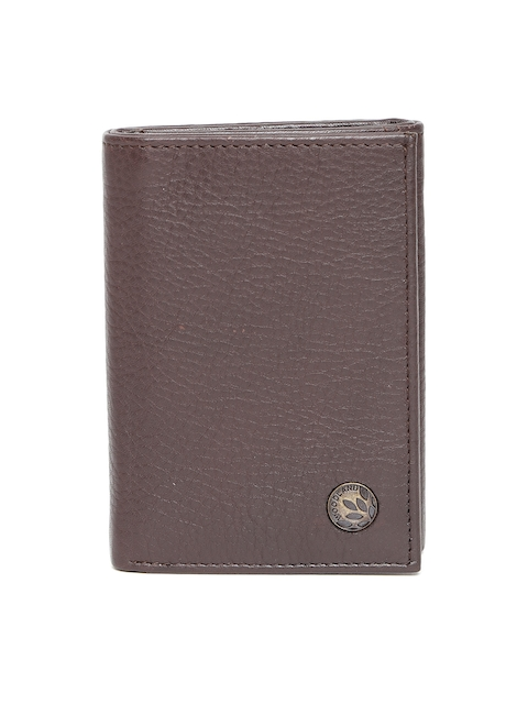Woodland Men Coffee Brown Leather Solid Three Fold Wallet