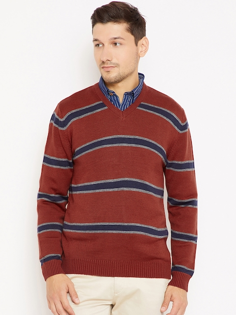 Wills Lifestyle Men Rust Brown & Navy Blue Striped Pullover