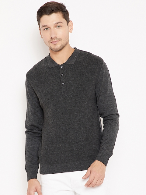 Wills Lifestyle Men Charcoal Grey Solid Pullover