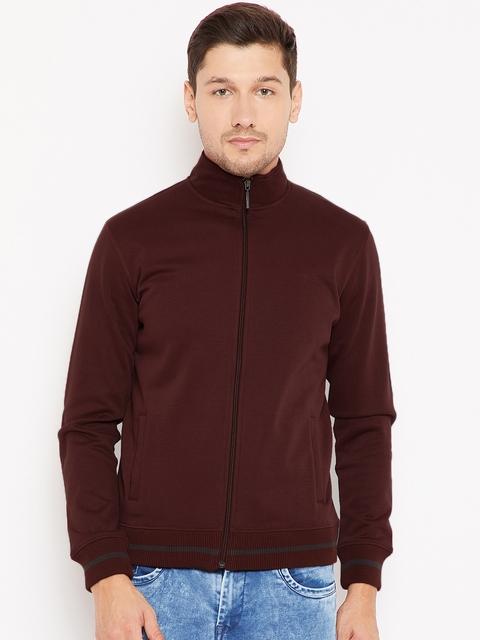 Wills Lifestyle Men Rust Brown Solid Sweatshirt