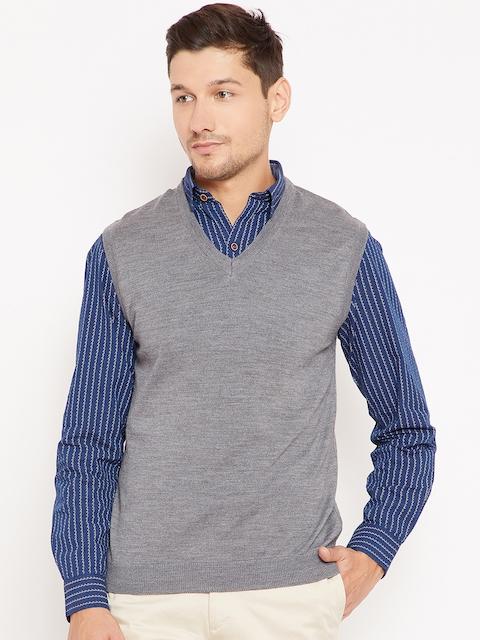 Wills Lifestyle Men Grey Melange Solid Sweater Vest