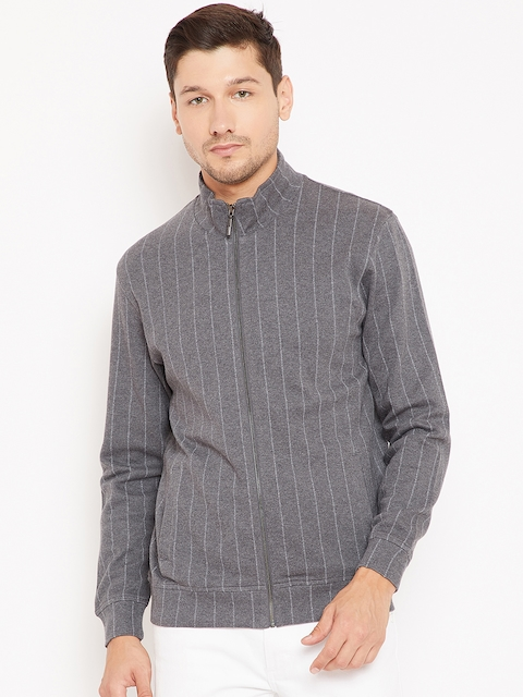 Wills Lifestyle Men Charcoal Grey Striped Sweatshirt