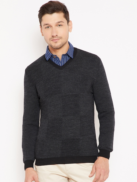 Wills Lifestyle Men Charcoal Grey Woollen Solid Pullover