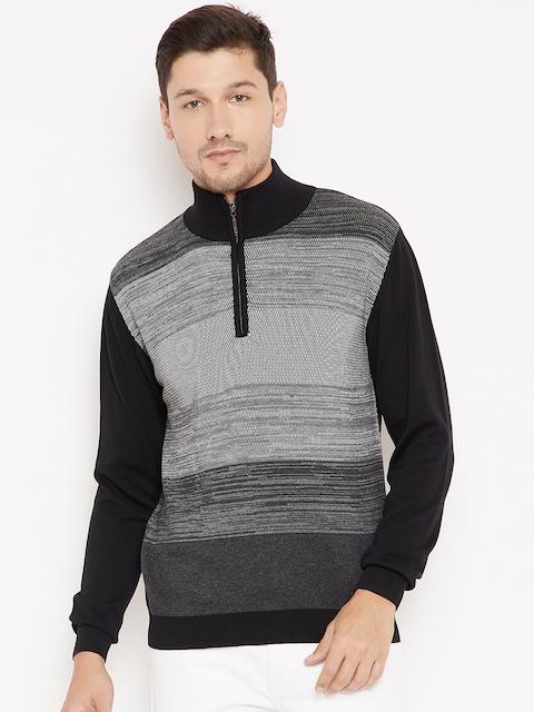 Wills Lifestyle Men Black & Grey Self Striped Pullover