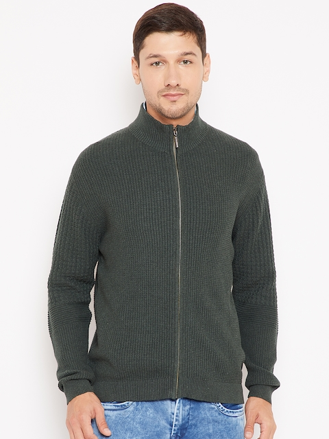 Wills Lifestyle Men Olive Green Self-Design Cardigan