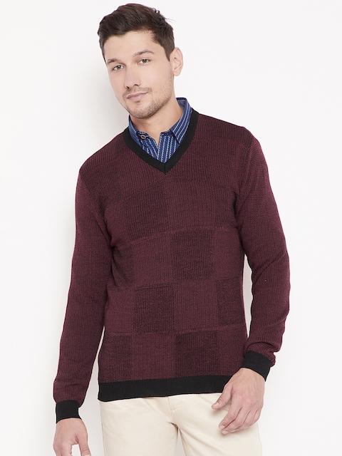 Wills Lifestyle Men Maroon Checked Woollen Pullover
