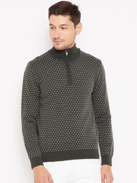 Wills Lifestyle Men Olive Green & White Self-Design Woollen Pullover