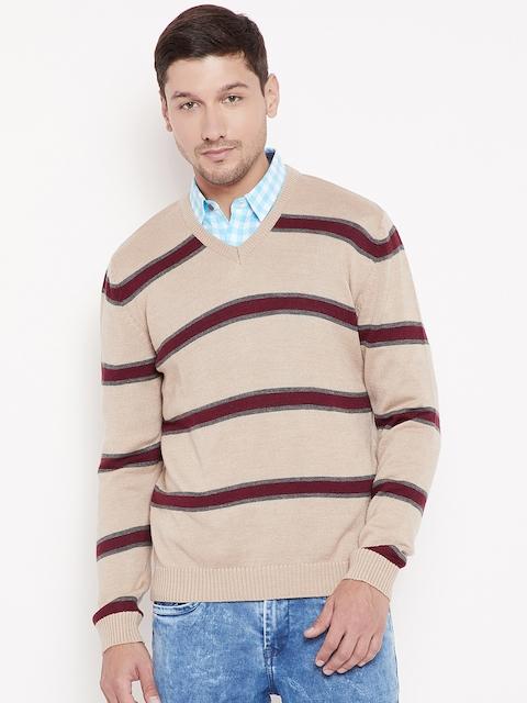 Wills Lifestyle Men Beige & Maroon Striped Pullover