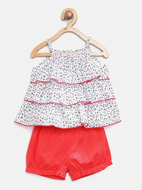 Nauti Nati Girls White & Red Floral Print Top with Shorts