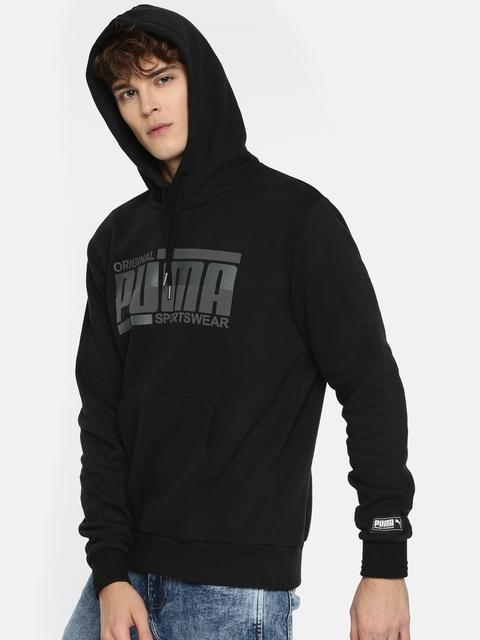 Puma Men Black Printed Athletics Hoody FL Hooded Sweatshirt