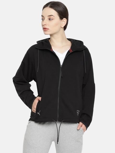 Puma Women Black Ferrari Solid Hooded Sporty Jacket