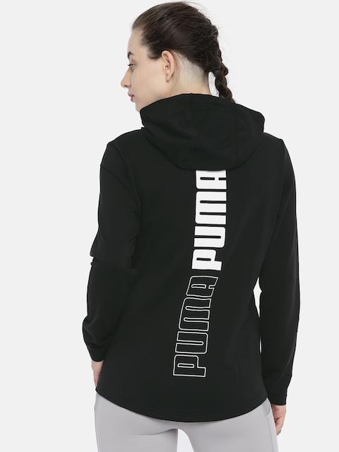 Puma Women Black Printed MODERN SPORT FZ Logo Hoody Sporty Jacket