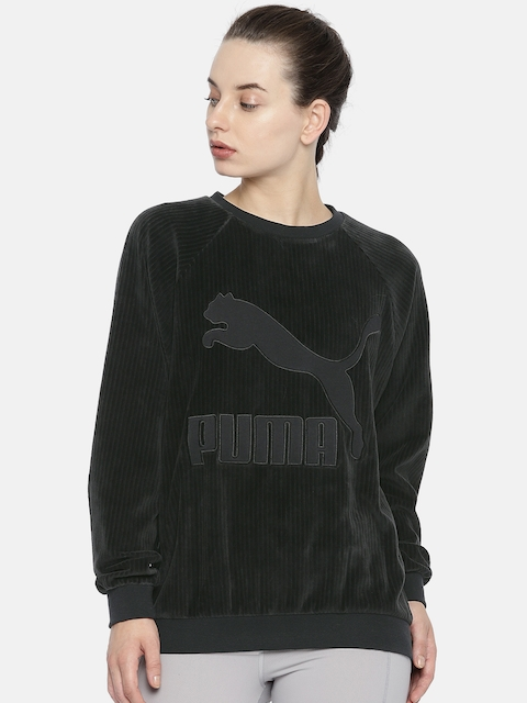 Puma Women Black Self-Design Downtown Structured Crew Velvet Sweatshirt