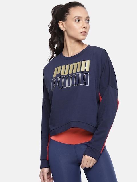 Puma Navy Blue Printed Relaxed Fit Crop Sweatshirt