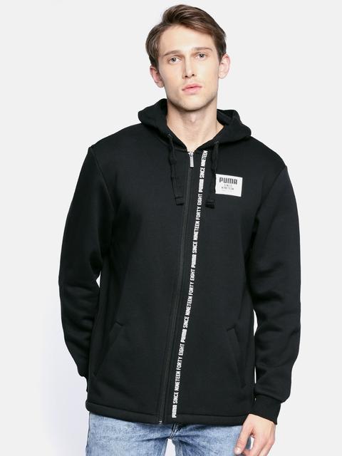Puma Men Black Solid Rebel Block FZ Hooded Sweatshirt