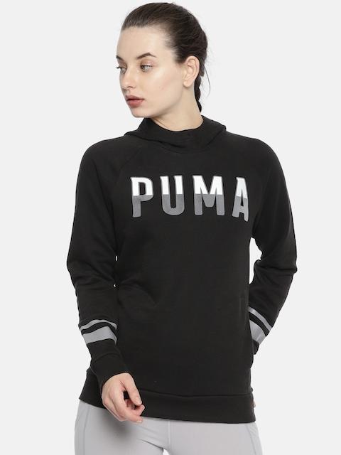 Puma Women Black Printed ATHLETIC Hoody Sweatshirt