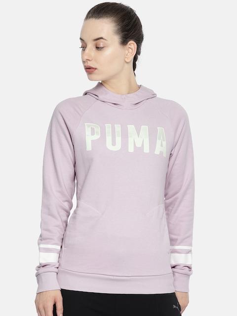 Puma Women Pink Printed ATHLETIC Hoody Sweatshirt