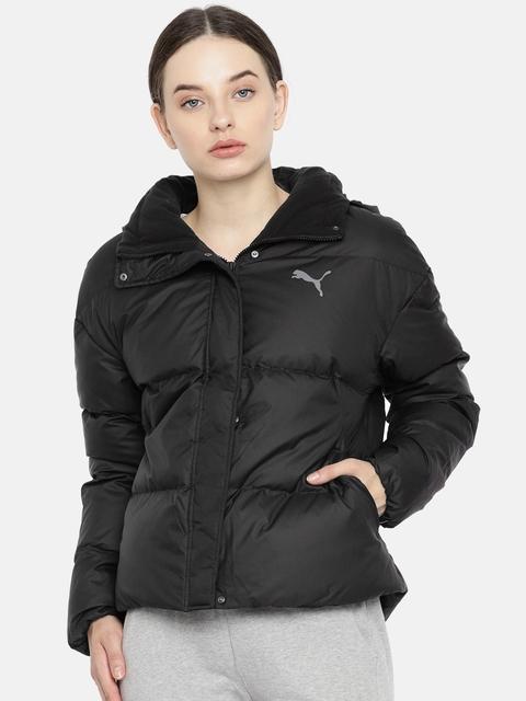 Puma Women Black 70/30 480 Down Solid Puffer Jacket