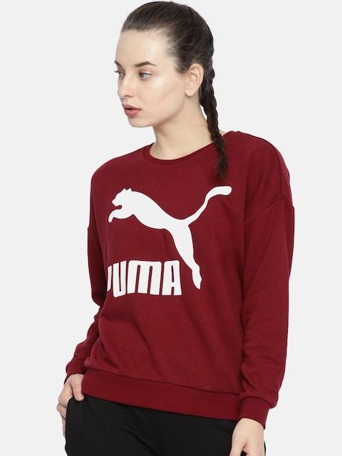 Puma Women Maroon Printed Classics Logo Crew Sweatshirt