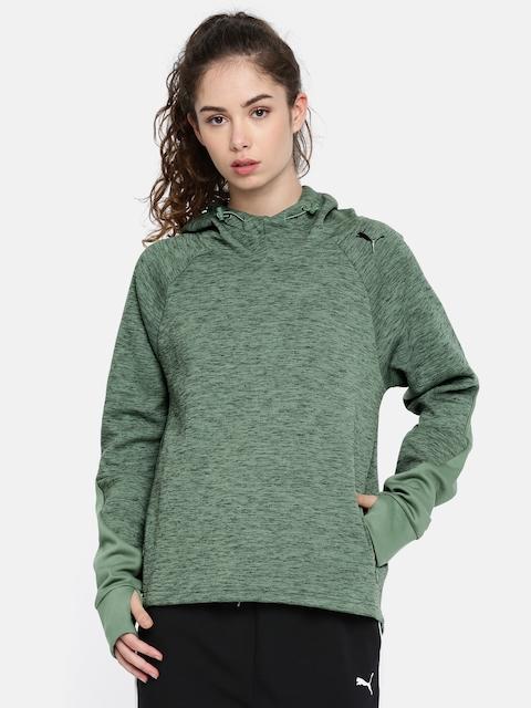 Puma Women Olive Green Evostripe Regular Fit Solid Hooded Sweatshirt
