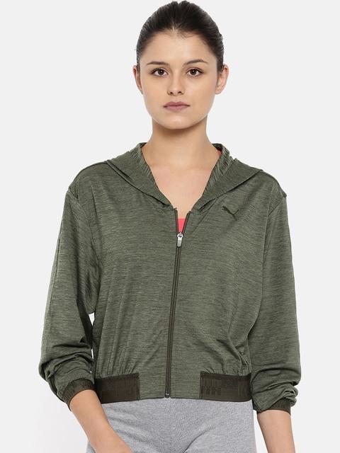 Puma Women Olive Green SOFT SPORT Drapey FZ Sweatshirt
