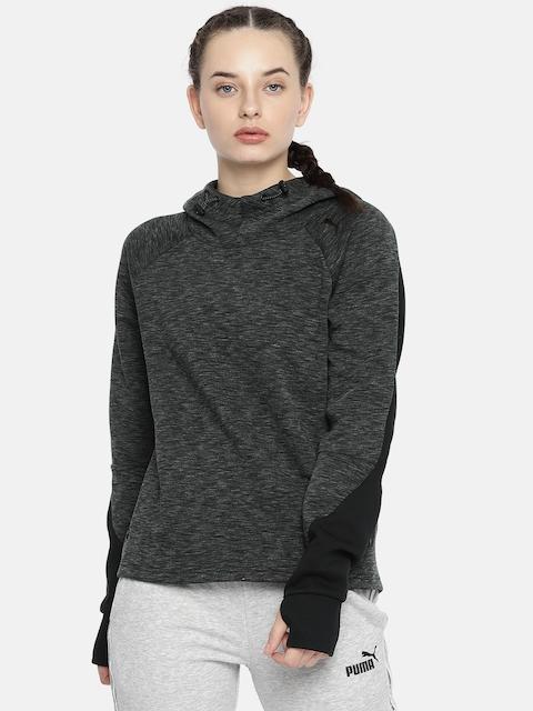 Puma Women Charcoal Grey Solid DRY-CELL Hooded Sweatshirt