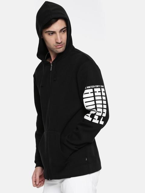 Puma Men Black Solid Rebel Bold FZ Hoody Sweatshirt