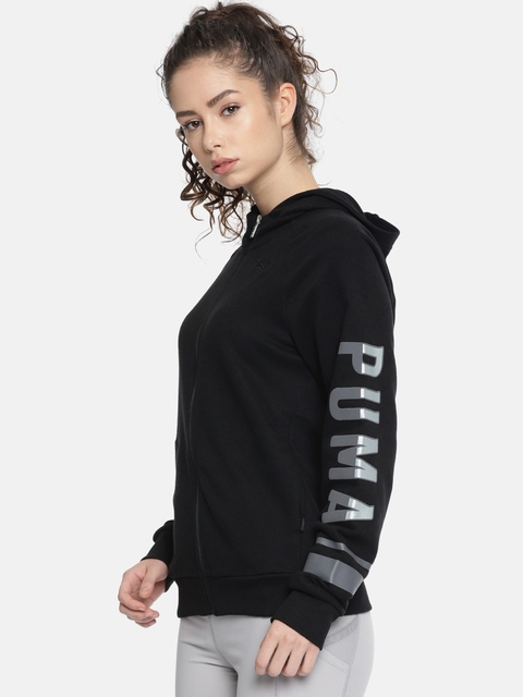 Puma Women Black Printed ATHLETIC FZ Hooded Sweatshirt