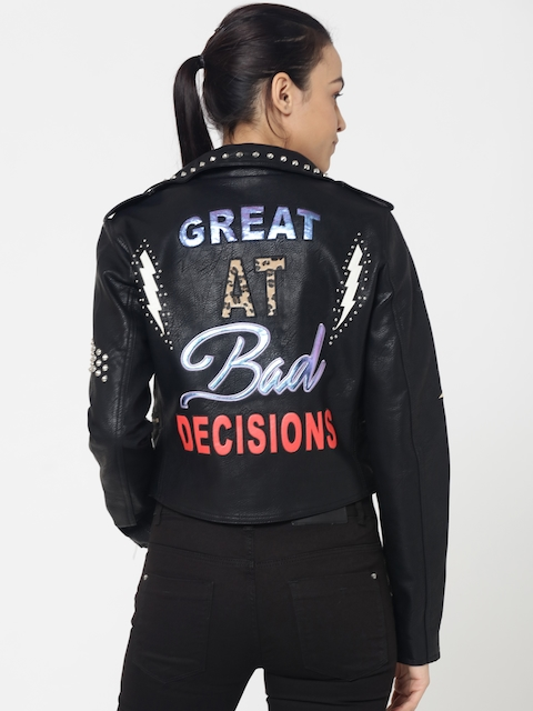 ONLY Women Black Printed Studded Biker Jacket