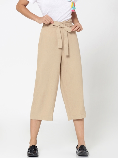 ONLY Women Beige Regular Fit Solid Culottes