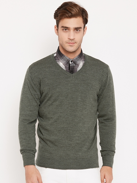 Allen Solly Men Olive Green Solid Pullover