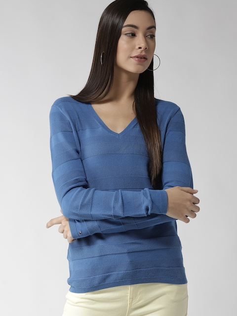 Tommy Hilfiger Women Blue Self-Striped Pullover