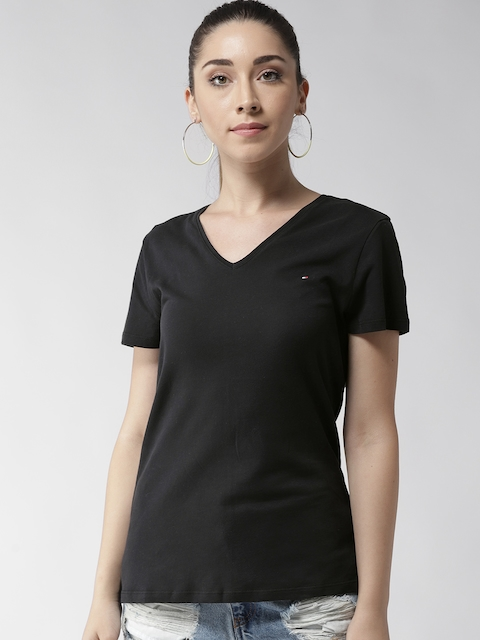 Tommy Hilfiger Women Black Solid V-Neck T-shirt