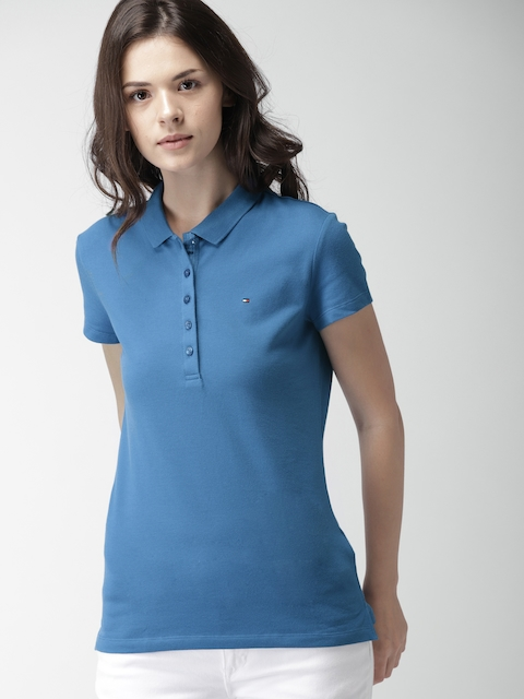 Tommy Hilfiger Women Blue Solid Polo Collar T-shirt