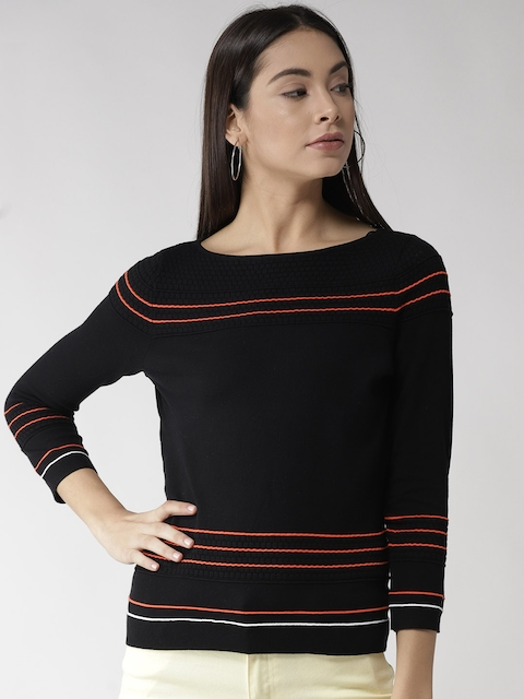 Tommy Hilfiger Women Black Striped Top