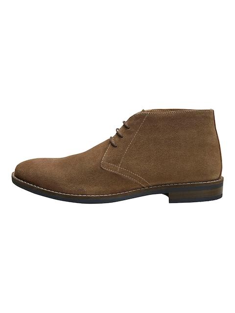 next Men Brown Solid Suede Mid-Top Flat Boots