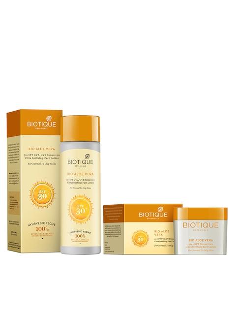 Biotique Unisex Bio Pack of 2 Aloe Vera 30+ SPF UVA/UVB Ultra Soothing Face Lotion & Cream