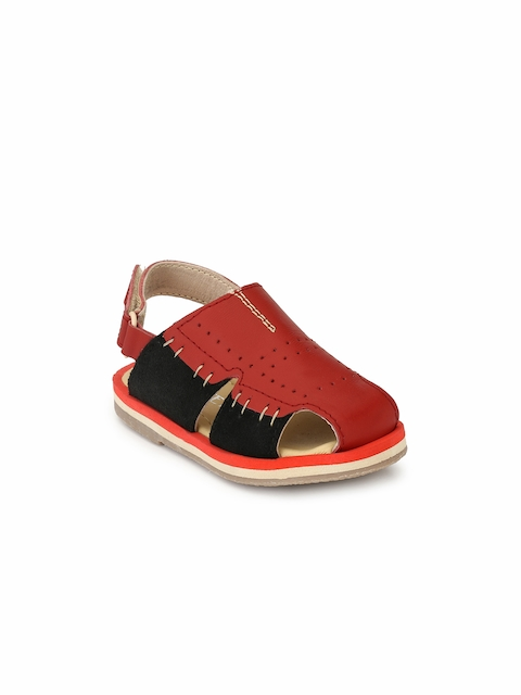 TUSKEY Boys Red Genuine Leather Comfort Sandals