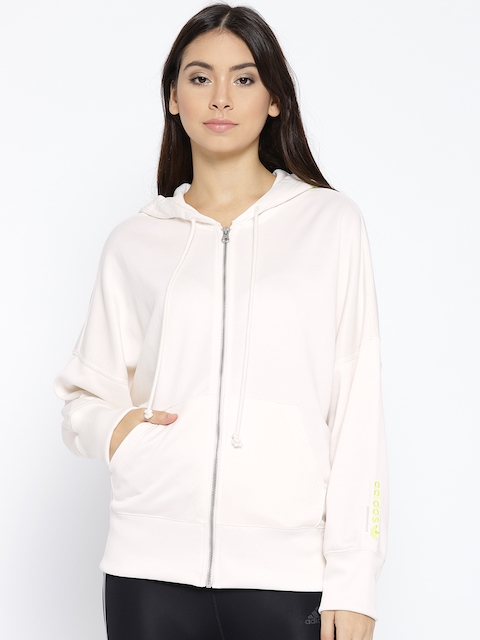 Adidas Women Off-White Solid Full Zip Sweatshirt