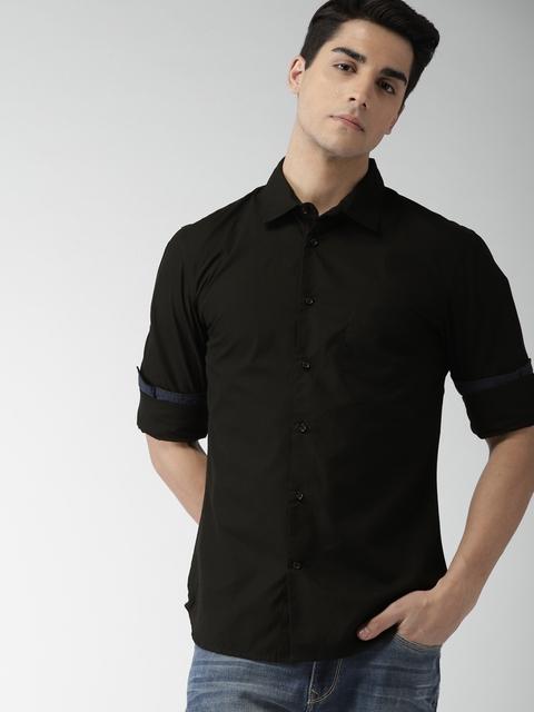 559ef4227 50%off Celio Men Black Slim Fit Solid Casual Shirt