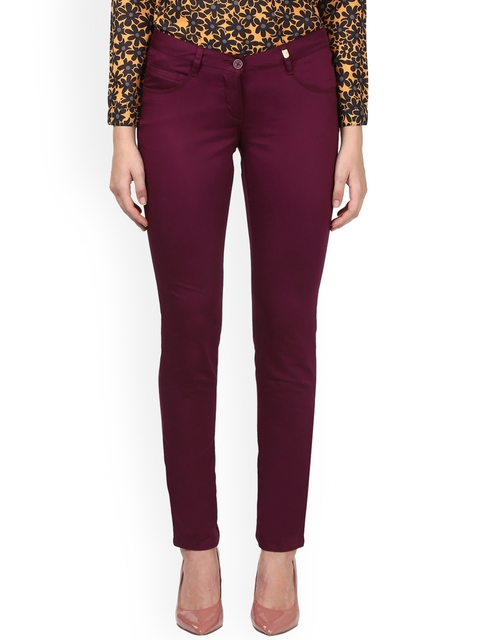 Park Avenue Woman Burgundy Tapered Fit Solid Regular Trousers