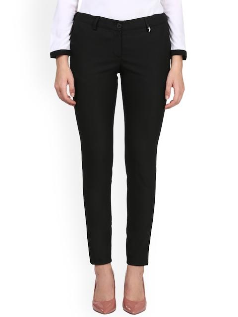 Park Avenue Woman Black Regular Fit Solid Regular Trousers